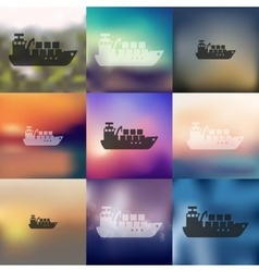 Cargo ship icon on blurred background vector