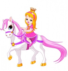 cartoon princess on horse vector image