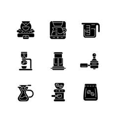 coffee shop appliance black glyph icons set vector image