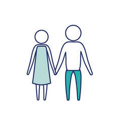 color blue silhouette of sections pictogram couple vector image
