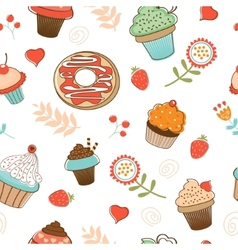 Colorful seamless desserts pattern vector image