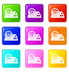 Computer steering wheel icons 9 set vector