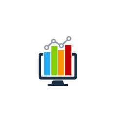 computer stock market business logo icon design vector image