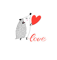 Congratulatory funny hedgehog with heart vector
