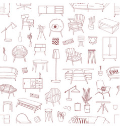 contemporary home furniture hand drawn vector image