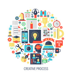 Creative process flat infographics icons in circle vector