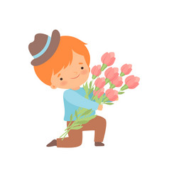 Cute kneeling little boy with bouquet flowers vector