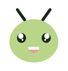 Cute little worm head kawaii character vector