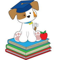 cute puppy graduate vector image