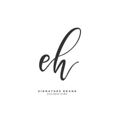 E h eh initial letter handwriting and signature vector