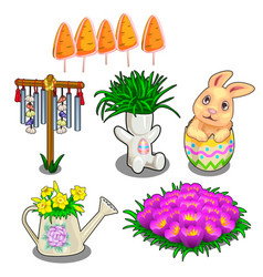 Easter symbols plants in vases and flower bed vector