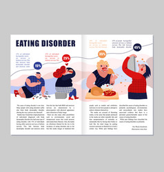 Eating disorder magazine layout vector