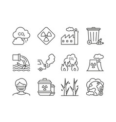 Ecology icons outline line set environment vector