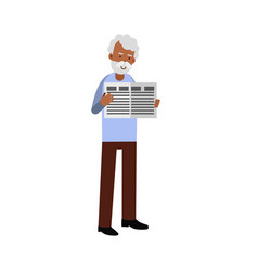 elderly man character standing and reading a vector image