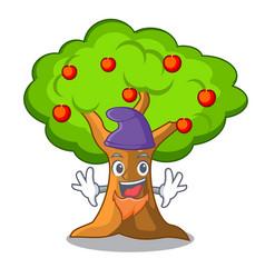 Elf apple orchard with basket of cartoon vector