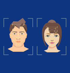 Face people recognition verification concept vector