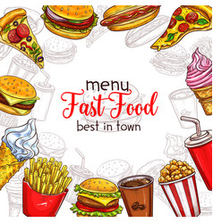 Fast food sketch menu template vector