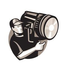Film crew with spotlight fresnel light vector