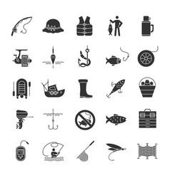 Fishing glyph icons set vector