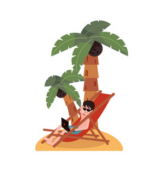 Flat freelancer works from tropical island vector