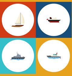 flat icon boat set of cargo sailboat yacht and vector image