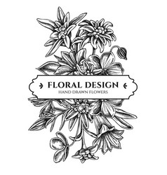 Floral bouquet design with black and white vector