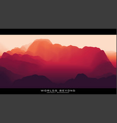 Fog over mountains landscape panorama vector