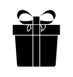 Gift box silhouette icon with a white background vector