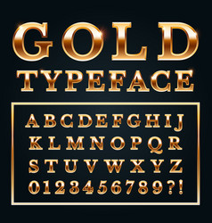 Golden letters with gold shine metal gradients vector