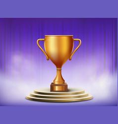 Golden winner award first place cup vector