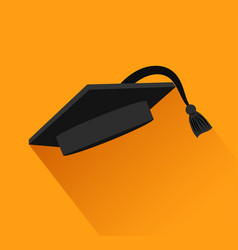graduation cap with black cord over orange vector image