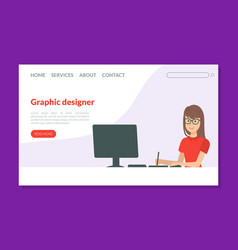 graphic designer landing page template young vector image
