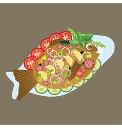 grilled fish in a plate sea food dinner lunch menu vector image