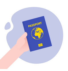 hand holding passport for international journey vector image