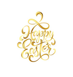 happy easter gold paint lettering hand drawn vector image