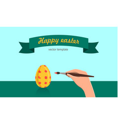 happy easter template hand drown eggs brush vector image