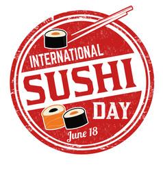 international sushi day grunge rubber stamp vector image