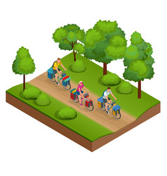 Isometric bikers on bicycle with travelling bag vector