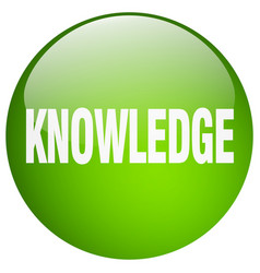 Knowledge green round gel isolated push button vector