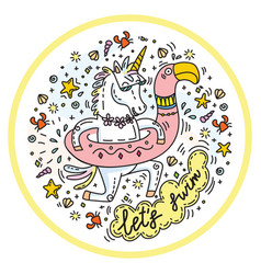 lets swim colorful unicorn vector image