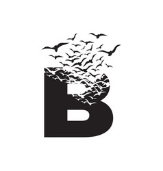 Letter b with effect destruction dispersion vector