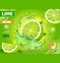 Lime juice poster advertising design vector
