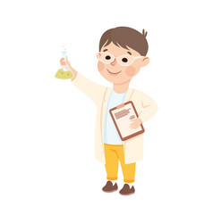 Little boy in laboratory coat with flask vector
