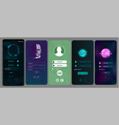 Login screens for mobile app vector