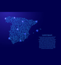 map spain from printed board chip and radio vector image
