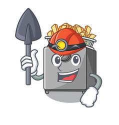 Miner cooking french fries in deep fryer cartoon vector