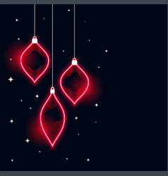 neon style merry christmas banner design vector image