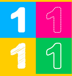 number 1 sign design template element four styles vector image