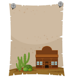 Paper template with wooden shop vector