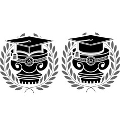 pedestals of square academic caps vector image